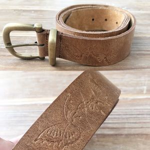 Vintage Amiee Lyn Butterfly Tooled Leather Belt XL